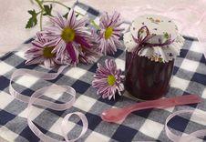 Jam Jar With Flowers Royalty Free Stock Photo