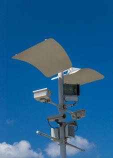 CCTV , Speaker And Sport Light Royalty Free Stock Images