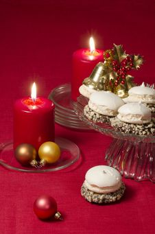 Free Christmas Decoration With Candles Ribbons And Cookies Stock Images - 35343834