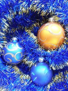 Free Christmas And New Years Balls On A Blue Background Royalty Free Stock Photography - 35344357