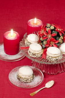 Free Christmas Decoration With Candles Ribbons And Cookies Royalty Free Stock Photo - 35344505