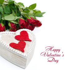 Free Wooden Box With Red Hearts And Roses Stock Image - 35345581