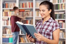 Free Students In Library. Royalty Free Stock Photography - 35346967