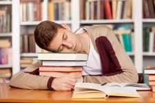 Free Sleeping At The Library. Royalty Free Stock Photo - 35346995