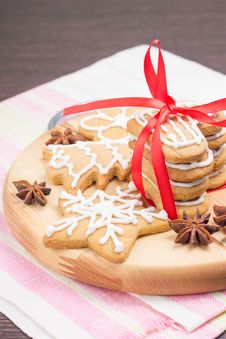 Christmas Gingerbread Cookies On Wooden Board Stock Photos