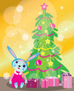 Free Christmas Tree Card With Rabbit Girl Royalty Free Stock Photos - 35356308