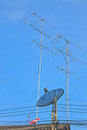 Free Satellite Dish And Television Antenna On Roof Royalty Free Stock Photos - 35356728