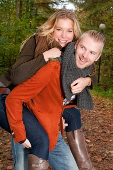 Free Happy Young Couple In The Autumn Stock Photos - 35356753