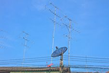 Free Satellite Dish And Television Antenna On Roof Royalty Free Stock Photography - 35356887