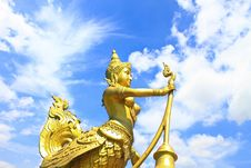 Golden Kinnari Lighting Pole