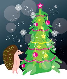 Free Christmas Tree Card With Hadgehog Royalty Free Stock Image - 35358216