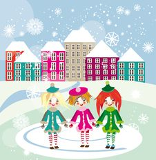 Free Three Little Girls Walking In Winter City Square Stock Image - 35359171