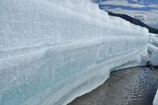 The Permanent Ice Fields In The Tideway Of The Yakut River. Stock Photos