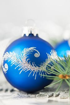 Free Blue And Silver Xmas Ornaments On Bright Background Royalty Free Stock Photo - 35363565