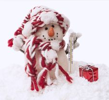 Free Snowman With The Thermometer Stock Images - 35364374