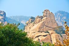 The Meeting Of Lovers Boulders And Autumnal Scenery Stock Photos