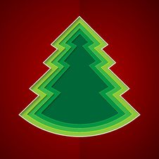 Free Green Paper Christmas Tree On Red Background Stock Image - 35374721