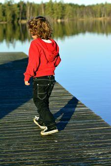 Kid  Walking On The Bridge Royalty Free Stock Photography