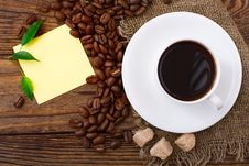 Free Coffee Cup And Sugar On  Wooden Table. Royalty Free Stock Photography - 35378487