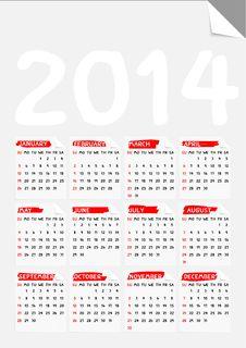 Free Fold Corner Paper Calendar 2014 Royalty Free Stock Photo - 35379075
