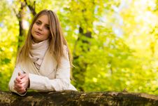 Free The Girl In An Autumn Forest. Royalty Free Stock Image - 35380706