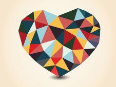 Origami Polygonal Heart. Stock Photos