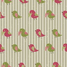 Free Seamless Retro Pattern With Birds Stock Images - 35383034