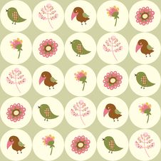 Seamless Background With Birds And Flowers In Circ Royalty Free Stock Photo
