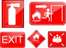 Free Set Of Fire Accident Sign Stock Image - 35398141
