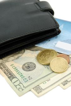 Money, Wallet And Credit Card Royalty Free Stock Photos
