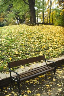 Free Autumn Bench In The Park Stock Images - 3544434