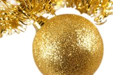 Free Golden Christmas Ball Isolated Stock Photo - 3544900
