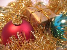 Red And Blue Christmas Balls Stock Images