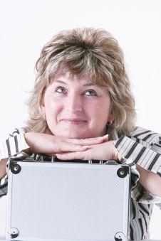 Woman Holding Metal Case Royalty Free Stock Image