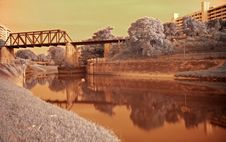 Infrared Photo –railway Bridge Royalty Free Stock Photos