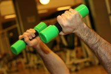 Free Hands On Green Dumbbells Stock Photos - 3548043