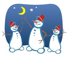 Free Three Snowballs And Moon Stock Images - 3549014