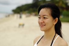 Free Chinese Lady At Beach Royalty Free Stock Photo - 3549095