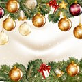 Free Christmas Background  With  Shining Baubles On A Fir Tree Branch Stock Photography - 35403362