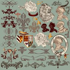 Collection Of  Heraldic Elements And Page Decorations Royalty Free Stock Image