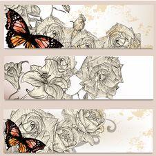 Floral Business Cards Set For Design Royalty Free Stock Images