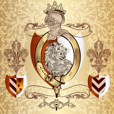 Heraldic Design With Lion And Knight Stock Photos