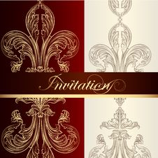 Free Luxury Invitation  Design With Fleur De Lis Stock Photography - 35404162