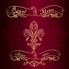 Free Royal Menu Design With Fleur De Lis Royalty Free Stock Image - 35404226