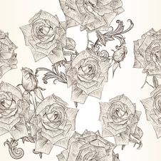 Free Vector Seamless Wallpaper Pattern With Rose Flowers Stock Photography - 35404282