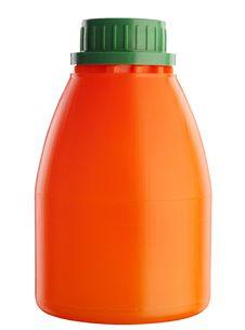 Orange Plastic Bottle On White Royalty Free Stock Photo