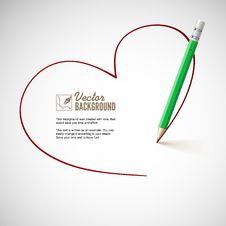 Free Pencil Drawing Heart. Royalty Free Stock Photography - 35405147
