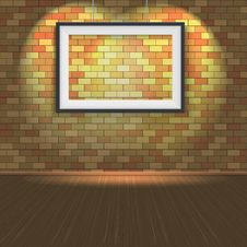 Free Brick Wall With A Empty Frame And Lighting Royalty Free Stock Photography - 35421577