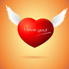 Free Soaring Red Heart With Wings Royalty Free Stock Images - 35421589