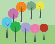 Free Colorful Trees Royalty Free Stock Photography - 35422757